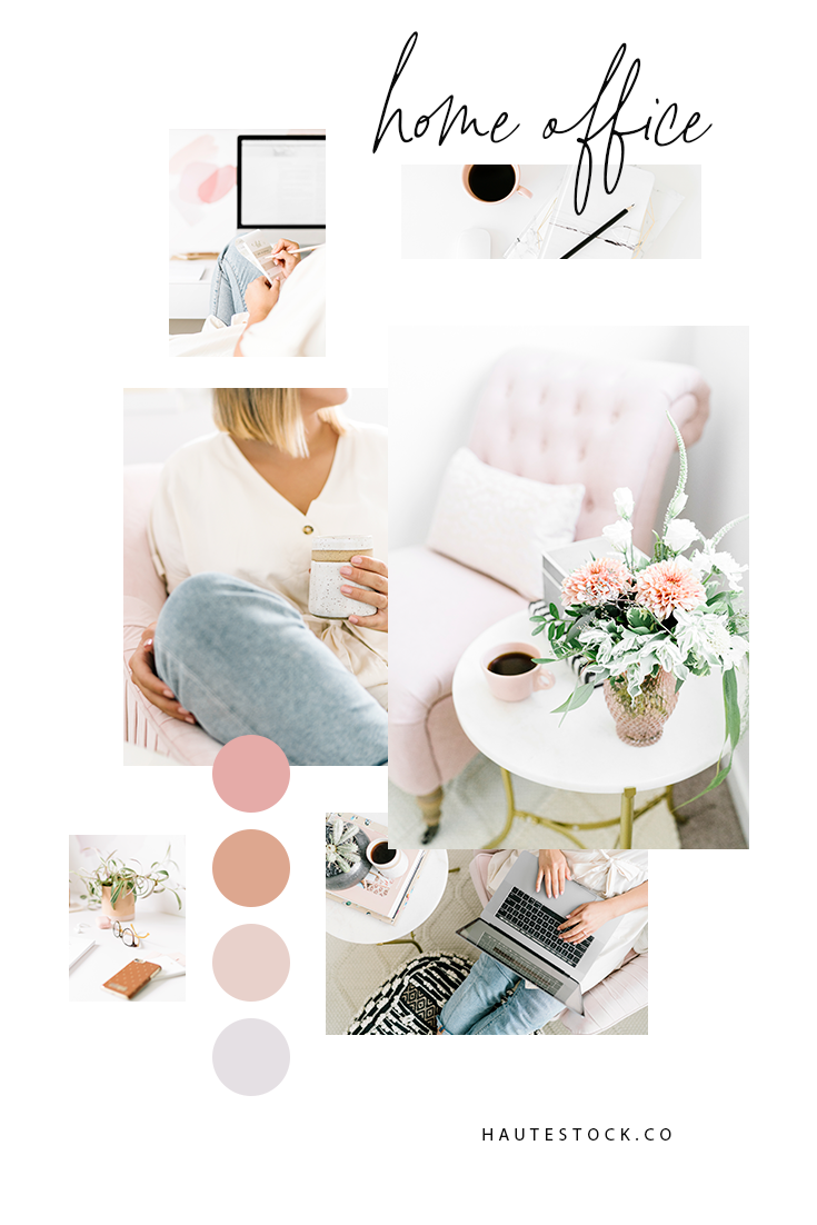 Pink, blush, white and purple office images featuring women working from home and interior shots.