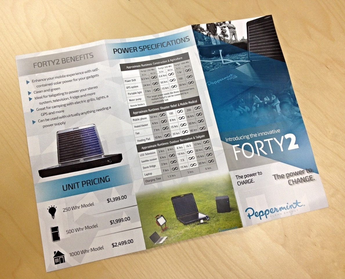 A brochure design update (2014) for Peppermint Energy's main product, the Forty2 solar generator. The Sioux Falls, South Dakota-based startup manufactures and implements portable solar units for developing countries and disaster relief areas.