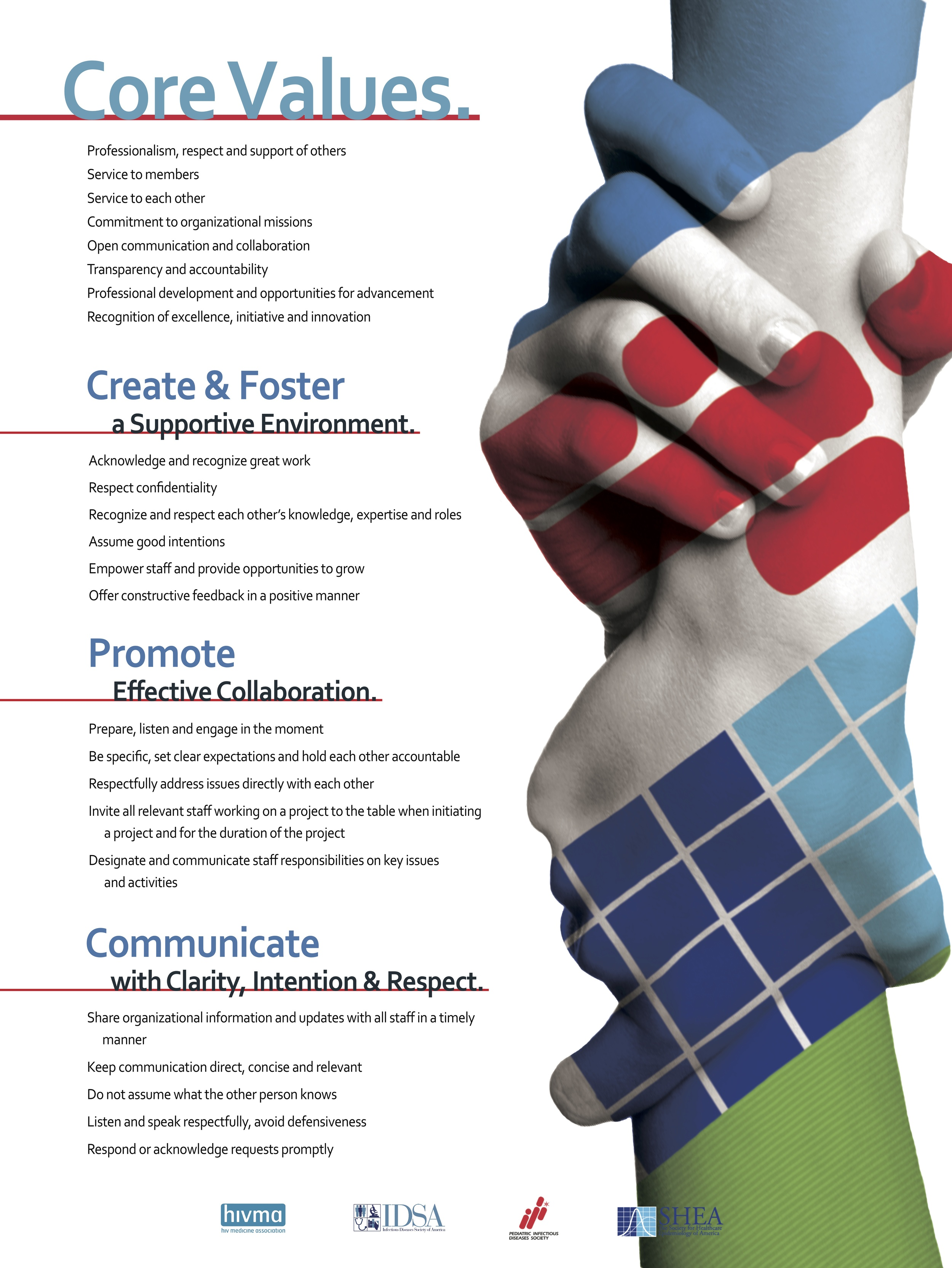 """Two options for a 'Core Values' poster (2015) for a partnership between HIVMA, SHEA, IDSA, and PIDS. The organizations wanted to emphasize the importance of equality among organizational values and wanted their partnership poster to reflect that. The final product print size is 36""""x48"""". The second poster design was the final decision."""