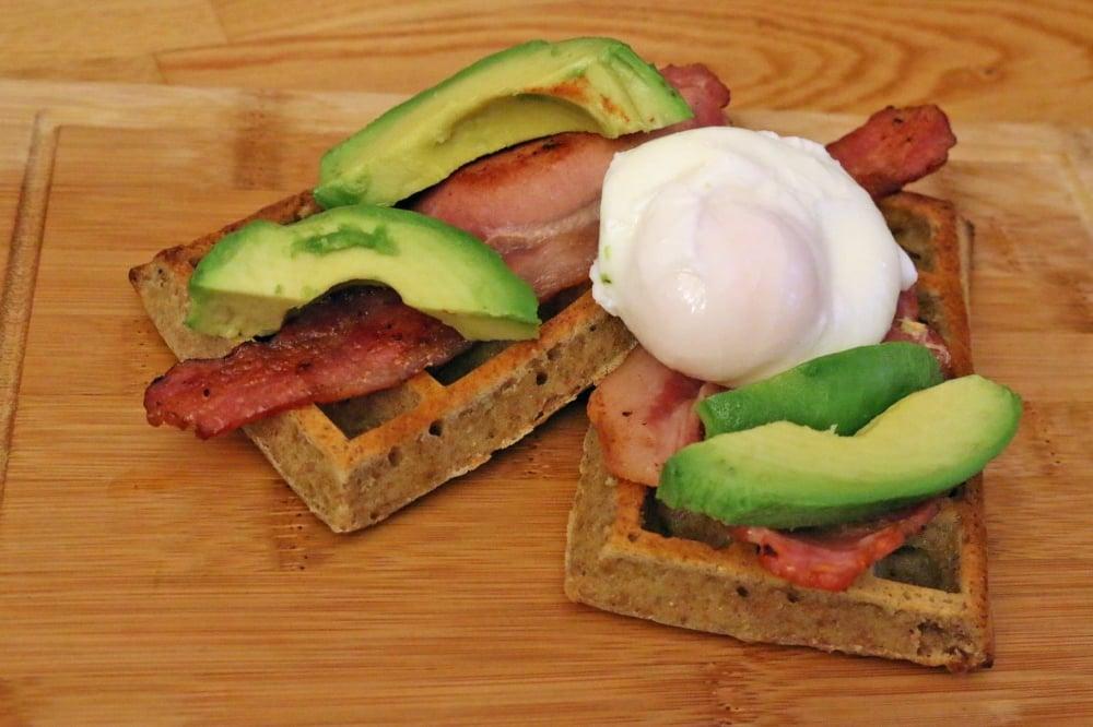 bacon and avocado waffles