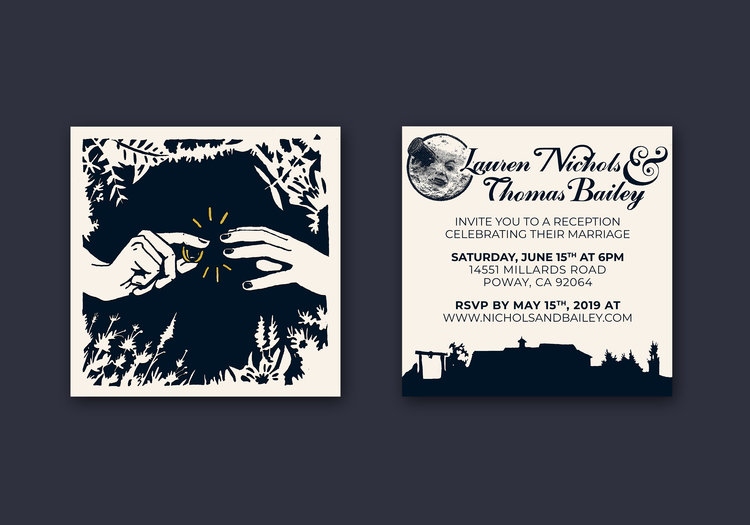 "LN & TB Wedding Invitations    Role: Design, Screen Printing 6""x6"" Front & Back Print"