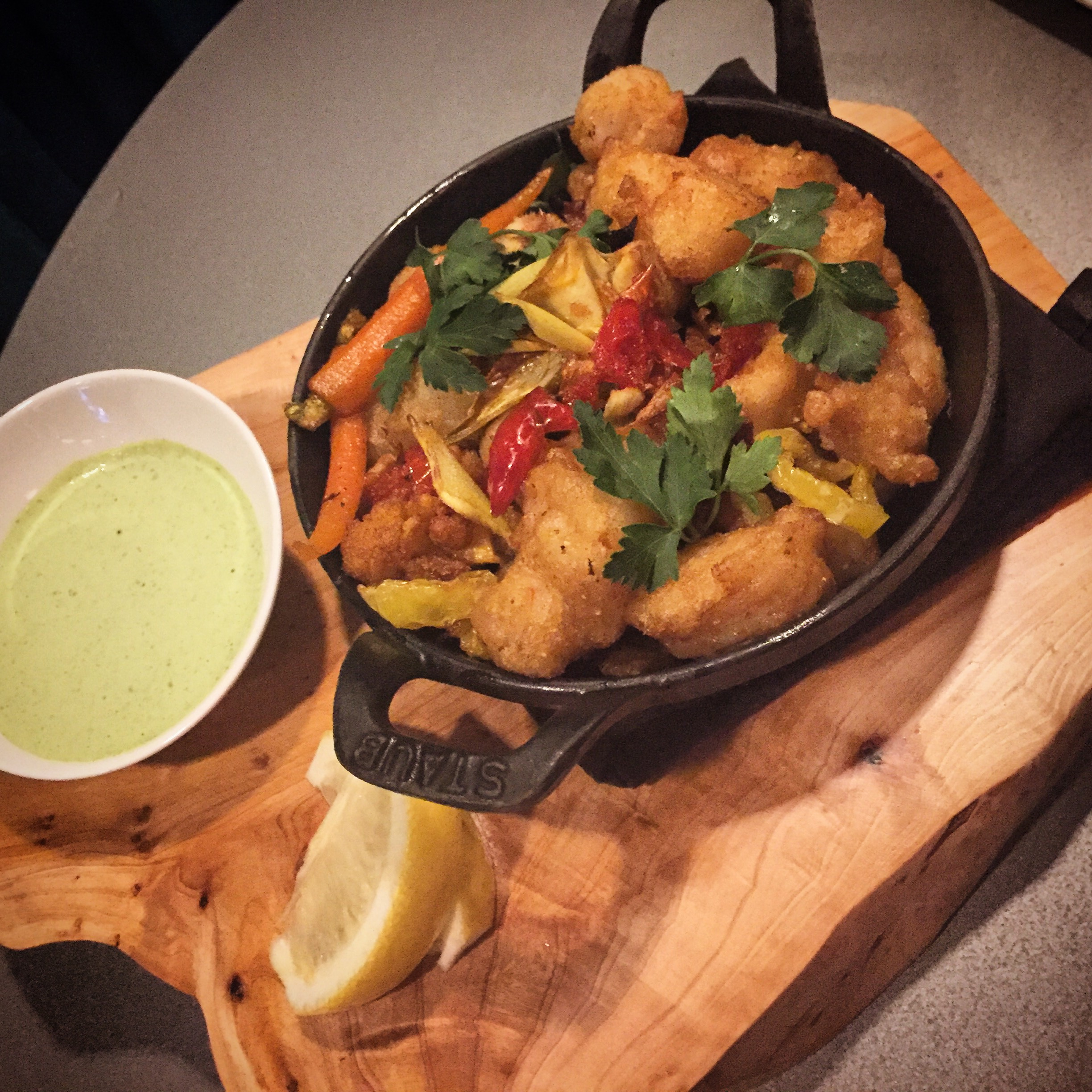 Fritto Misto - Walleye, Rock Shrimp, Scallops, Spicy Pickled Vegetables, and Green Garlic Sauce