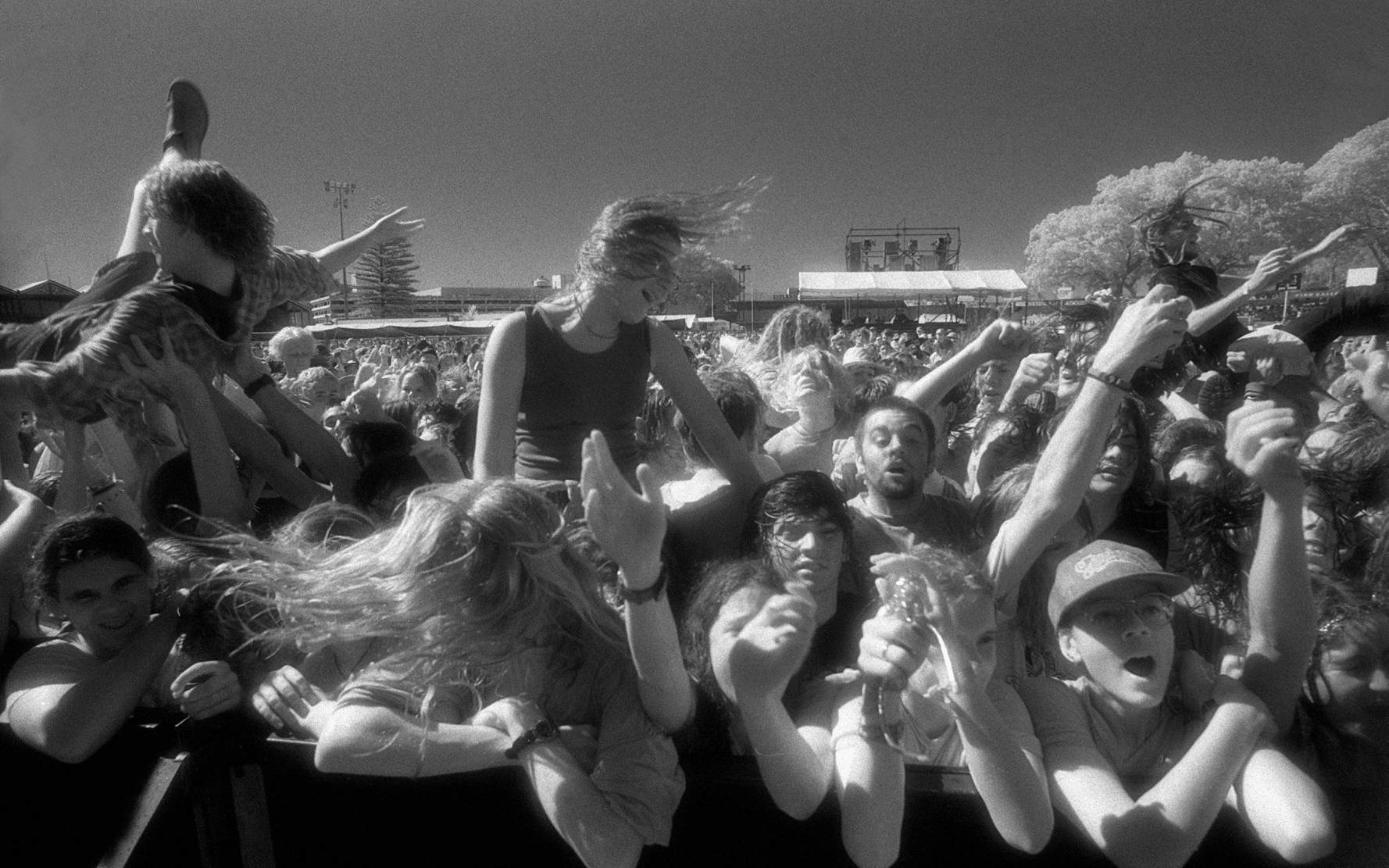 Front row of the crowd at the Big Day Out Festival Perth Joondalup W.Australia 1990's  ©  Michael Wylie  / PYMCA