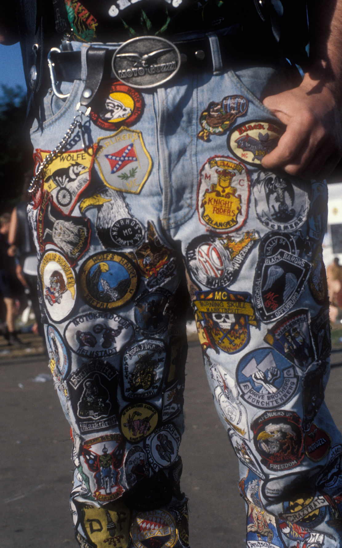 Biker with patches on his jeans, UK 1990s . ©  Ted Polhemus / PYMCA