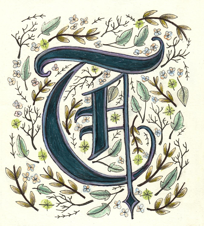 Illuminated Letter 'T'