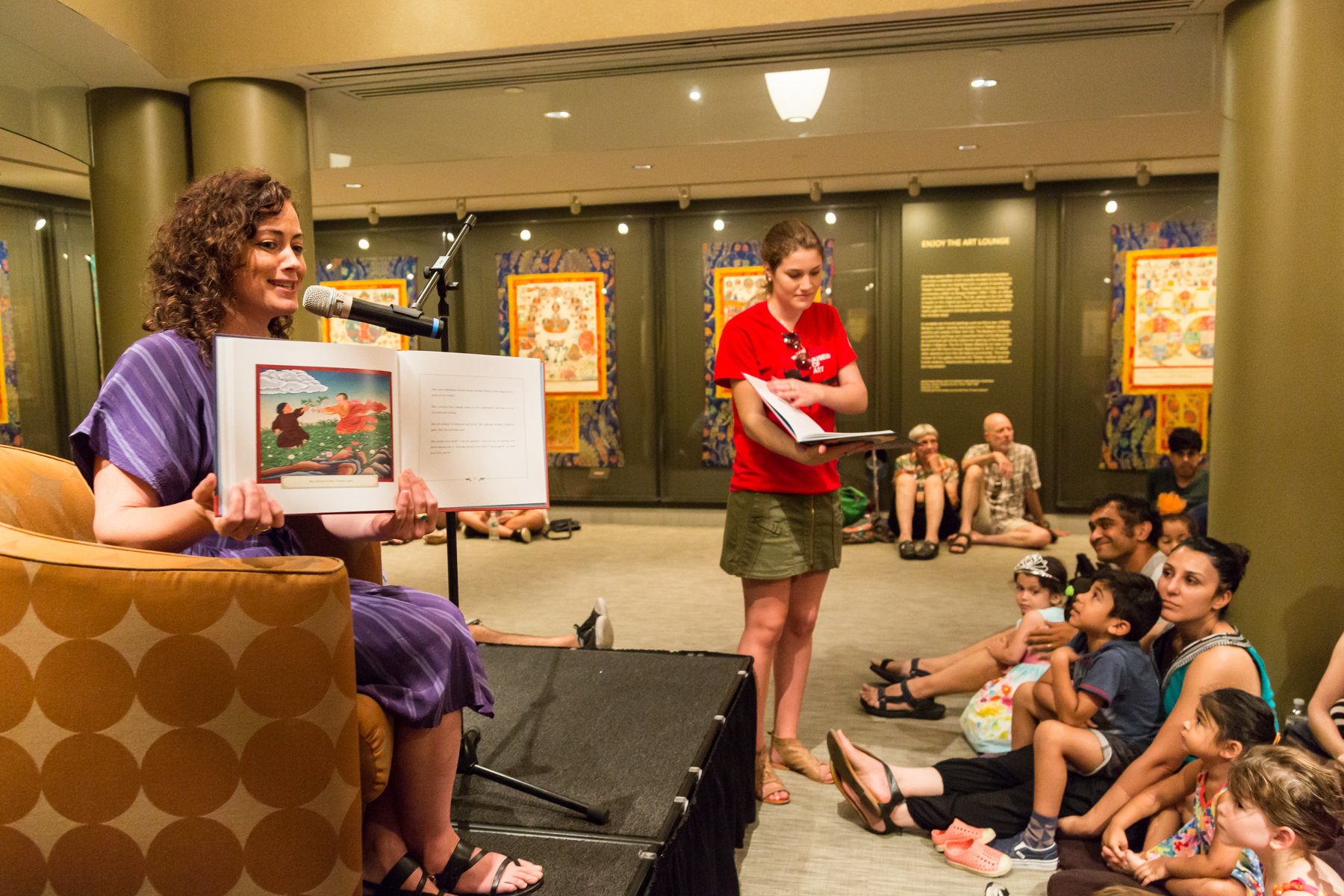 "Dominique reads from her children's book ""Shantideva: How to Wake up a Hero,"" at last Summer's Rubin Museum Block Party. Credit: Lyn Hughes."