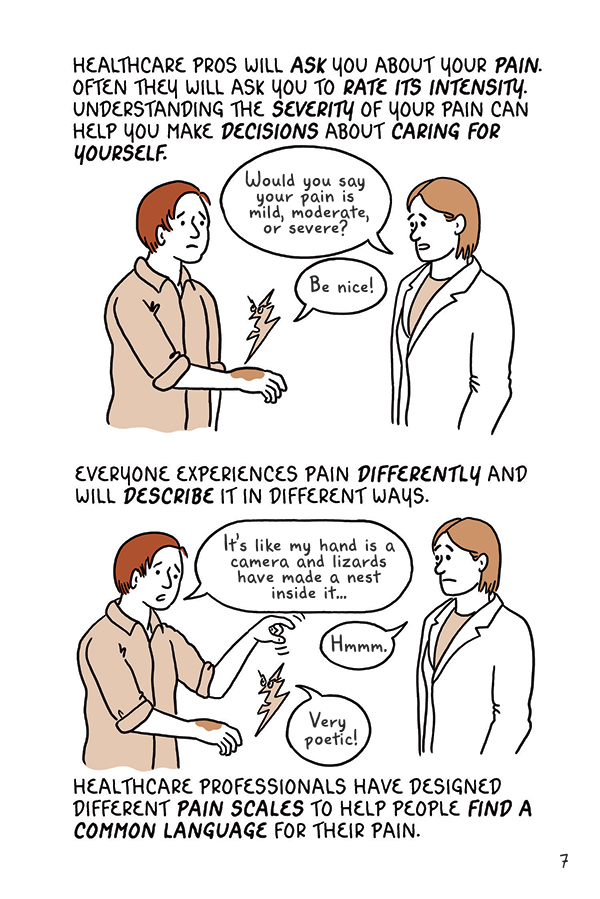 "There's no reason to live with pain, and it's important to cope and learn to handle it, posits this incredibly helpful book that includes exercises to promote that. Above, an illustration from  ""Draw Stronger: Self Care for Cartoonists & Visual Artists"" by Kriota Willberg published by Uncivilized Books."