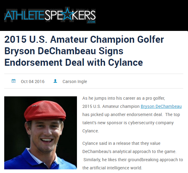 Cylance said in a release that they value DeChambeau's analytical approach to the game.  Similarly, he likes their groundbreaking approach to the artificial intelligence world.   Cylance was already in the world of sports, dealing mostly in cycling sponsorships.  Now they have added one of the brightest young stars in golf to their roster.   DeChambeau had a banner 2015.  In addition to capturing the U.S. Amateur, he won the NCAA Championship as a member of the Southern Methodist University golf team.