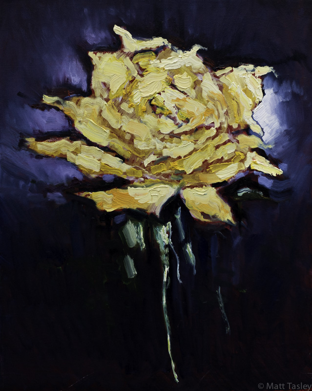 """Yellow Rose"", Oil on canvas, 16""x12"""