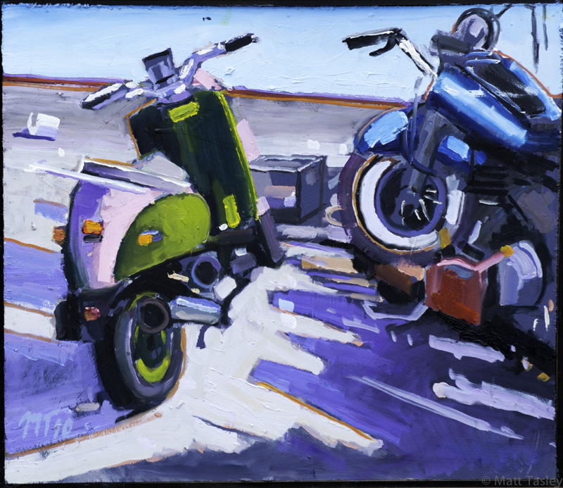 """Motorcycles"", Oil on masonite, 18"" x 23"""