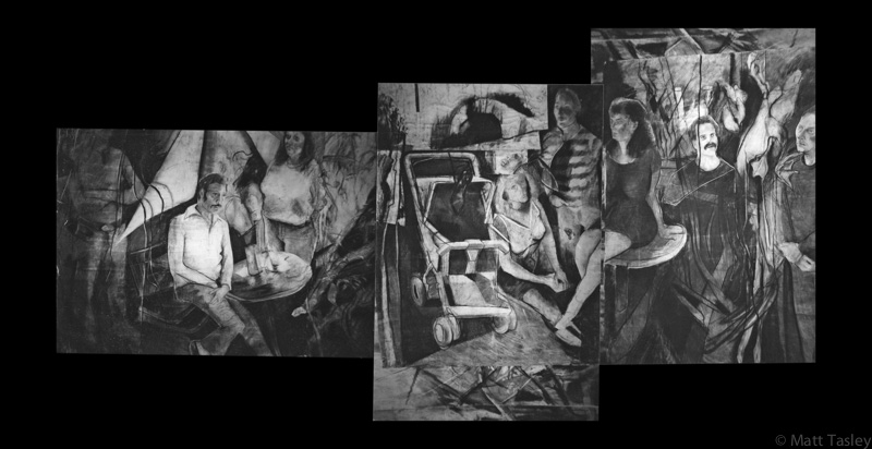 """Recovery Facility"", Charcoal on paper, 60"" x 200"""
