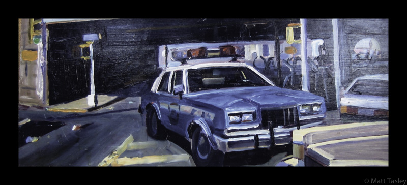 """NYC Police Car "", Oil on masonite, 11""x 26"""