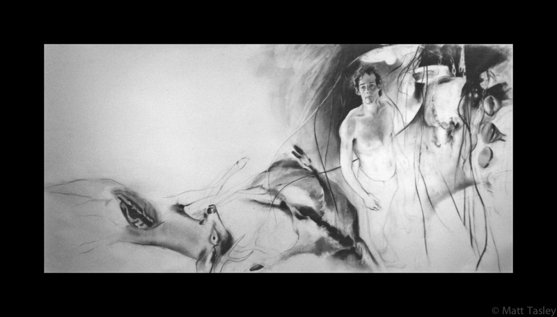 """Self-portrait with deer"", Charcoal on paper, 72""x 200"""