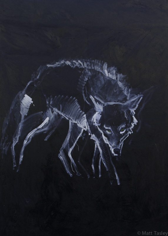 """Coyote"" Oil on canvas, 84""x 60"""