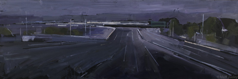 """Hwy 101 North"", Oil on masonite, 38""x 80"""