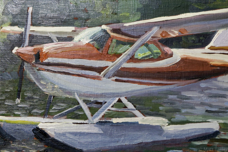 """Seaplane"", Oil on masonite, 8""x 18"""