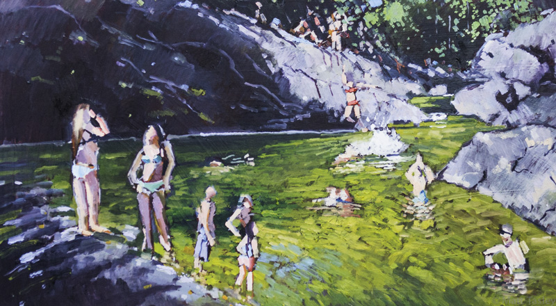 """ Inkwells, Samuel P. Taylor State Park"", Oil on masonite, 24""x 43""."
