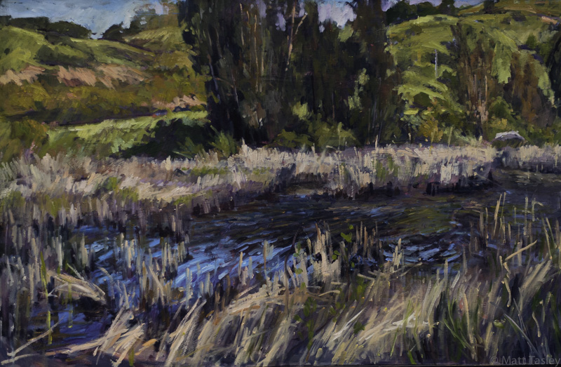 %22 Larkspur Landing Pond%22, oil on masonite, 27%22x 39%22.jpg