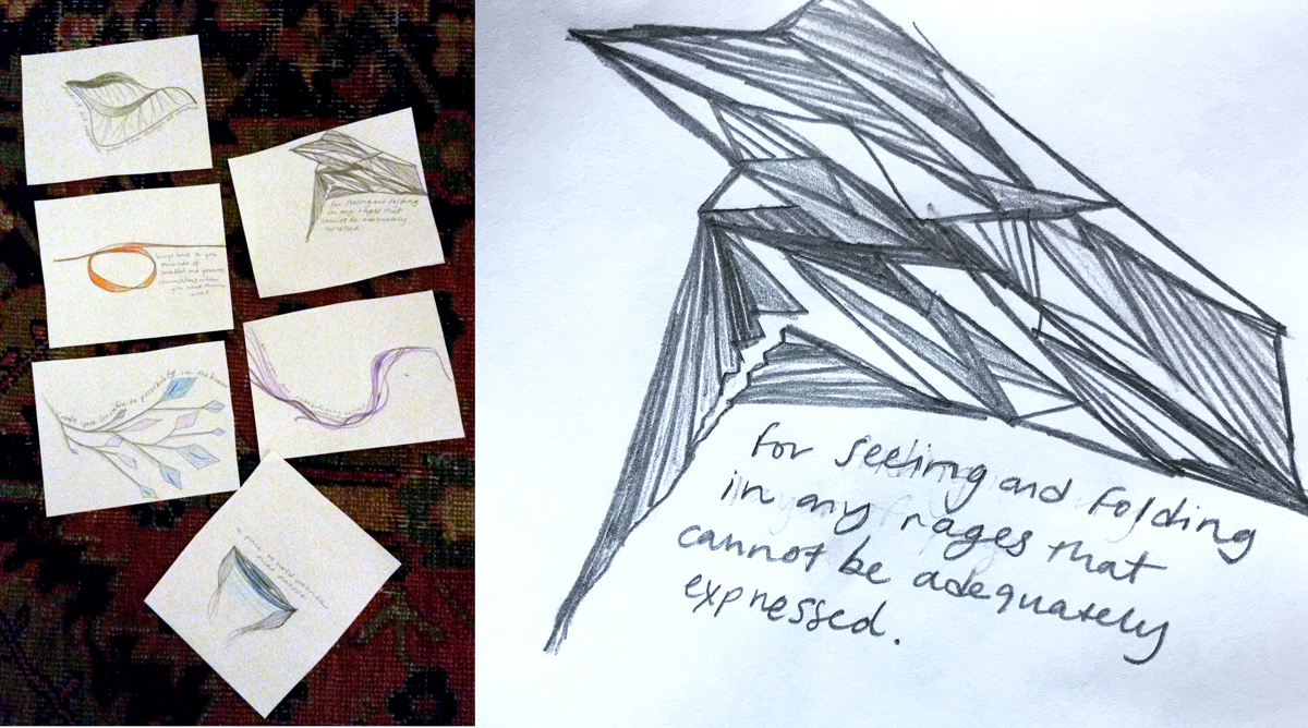 Participant's organ drawings, created on-site to process or hold expressed intangible needs.