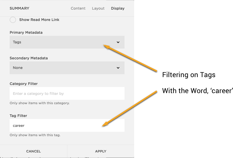Squarespace: List Widget Filtering