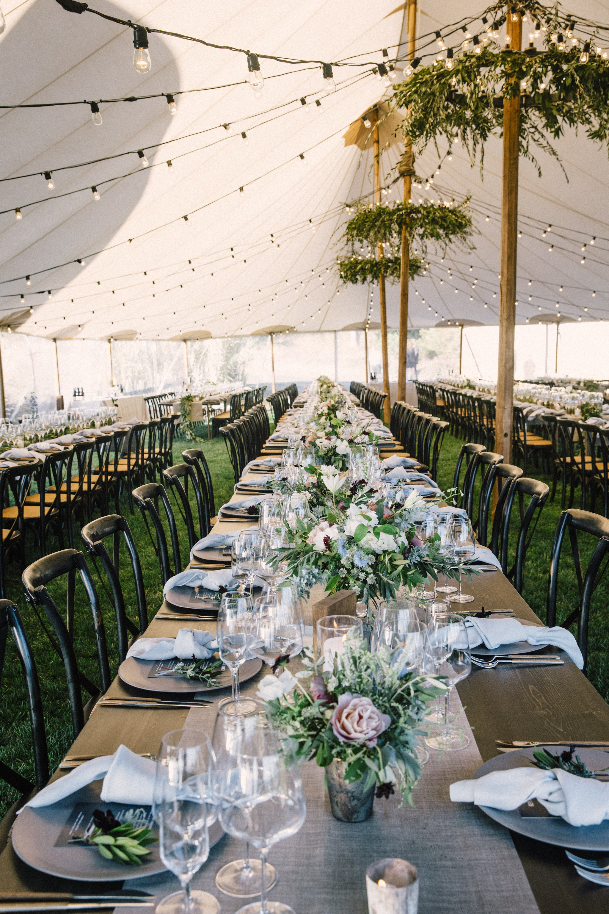 Greenery Chandeliers and Flowers by Venn Floral | Photo by Venn Floral