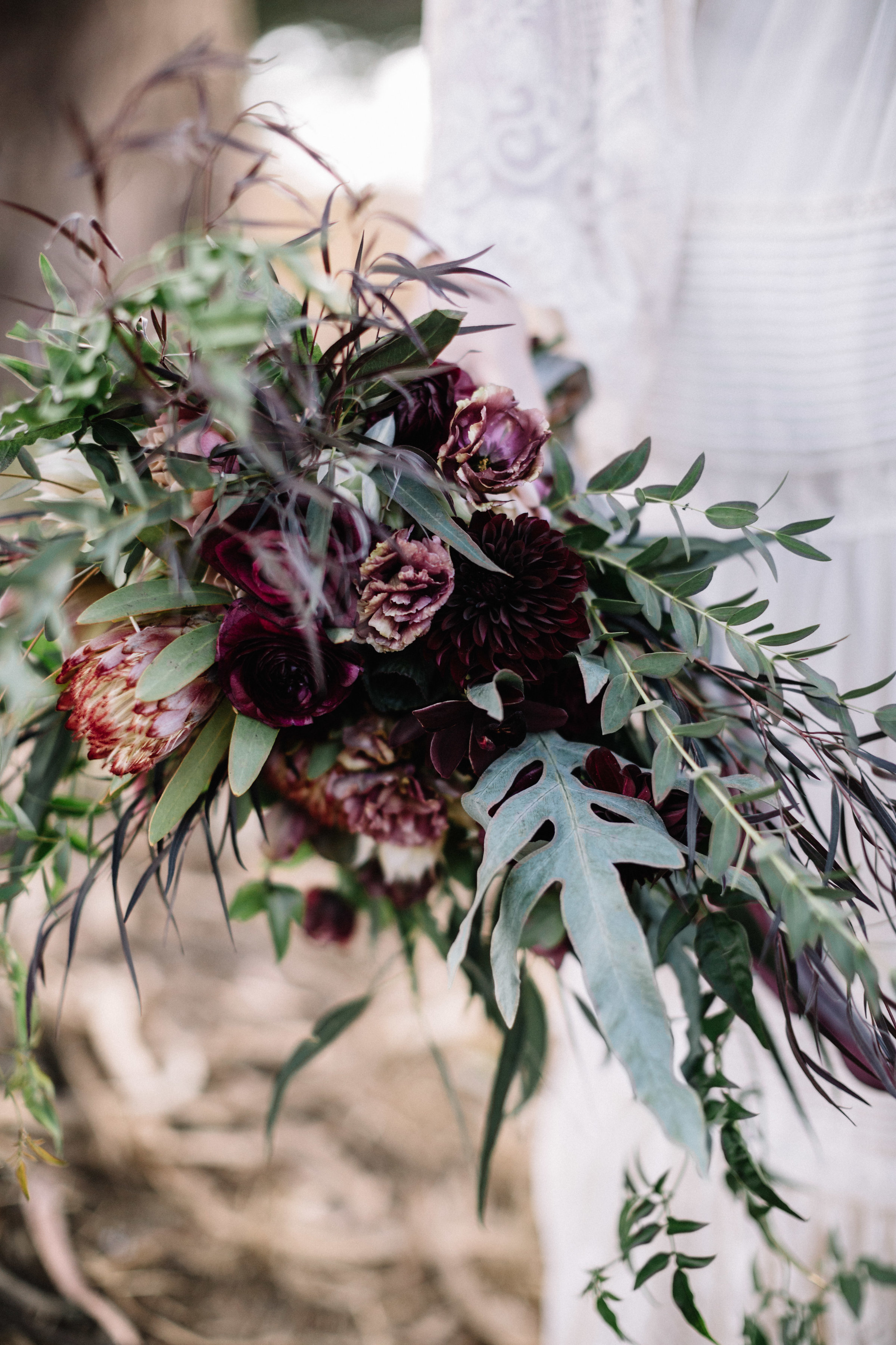 Wild and cascading bridal bouquet with dark flowers by Venn Floral photographed by Lucille Lawrence at Straus Home Ranch in Marshall ,California with Mendocino Weddings.