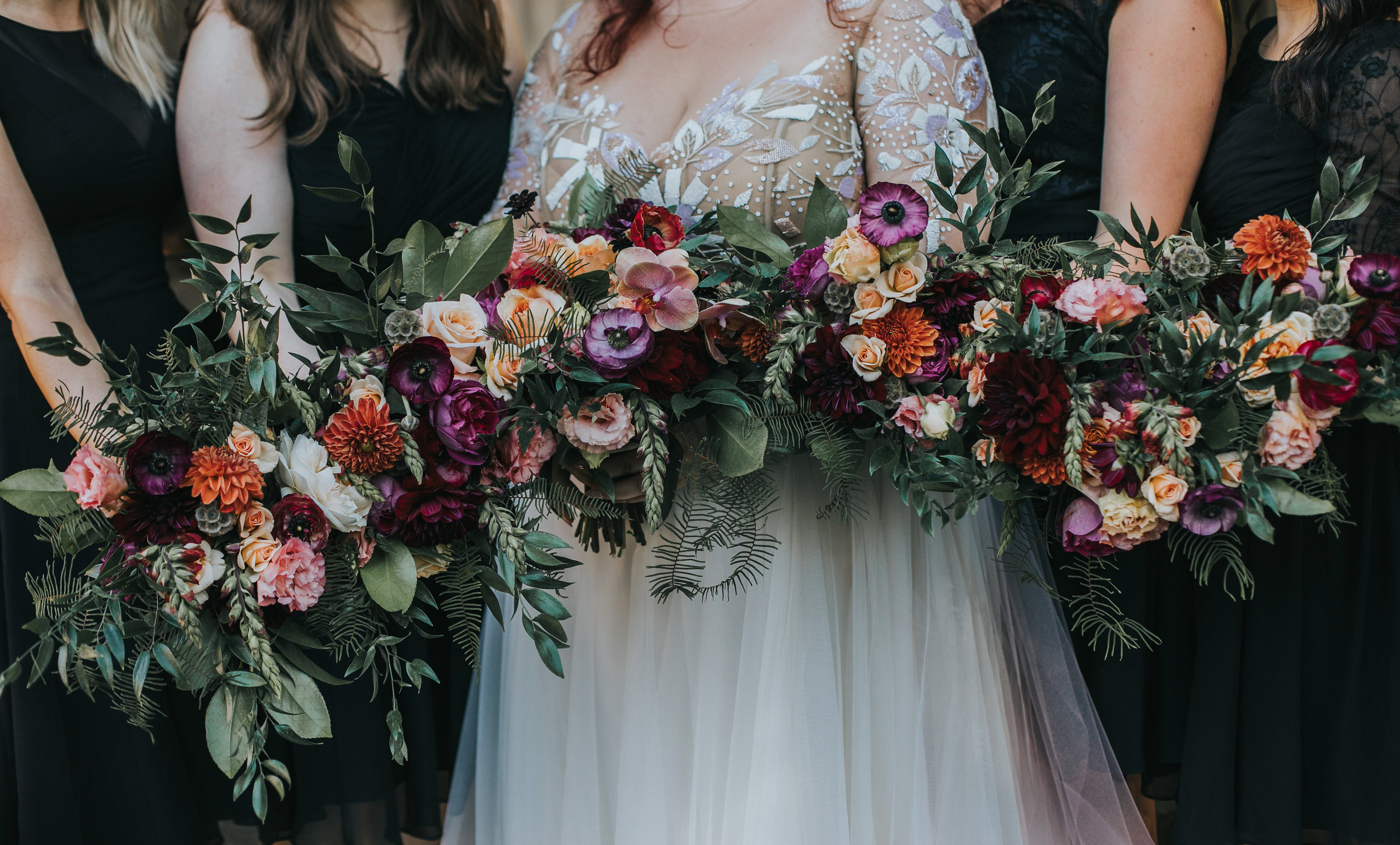 The colors say it all. We get SO damn excited when our clients are up for an adventure on the color wheel. Britt was all about it for her June wedding and we're stoked on  Jamie Thrower's  gorgeous photos from the day.
