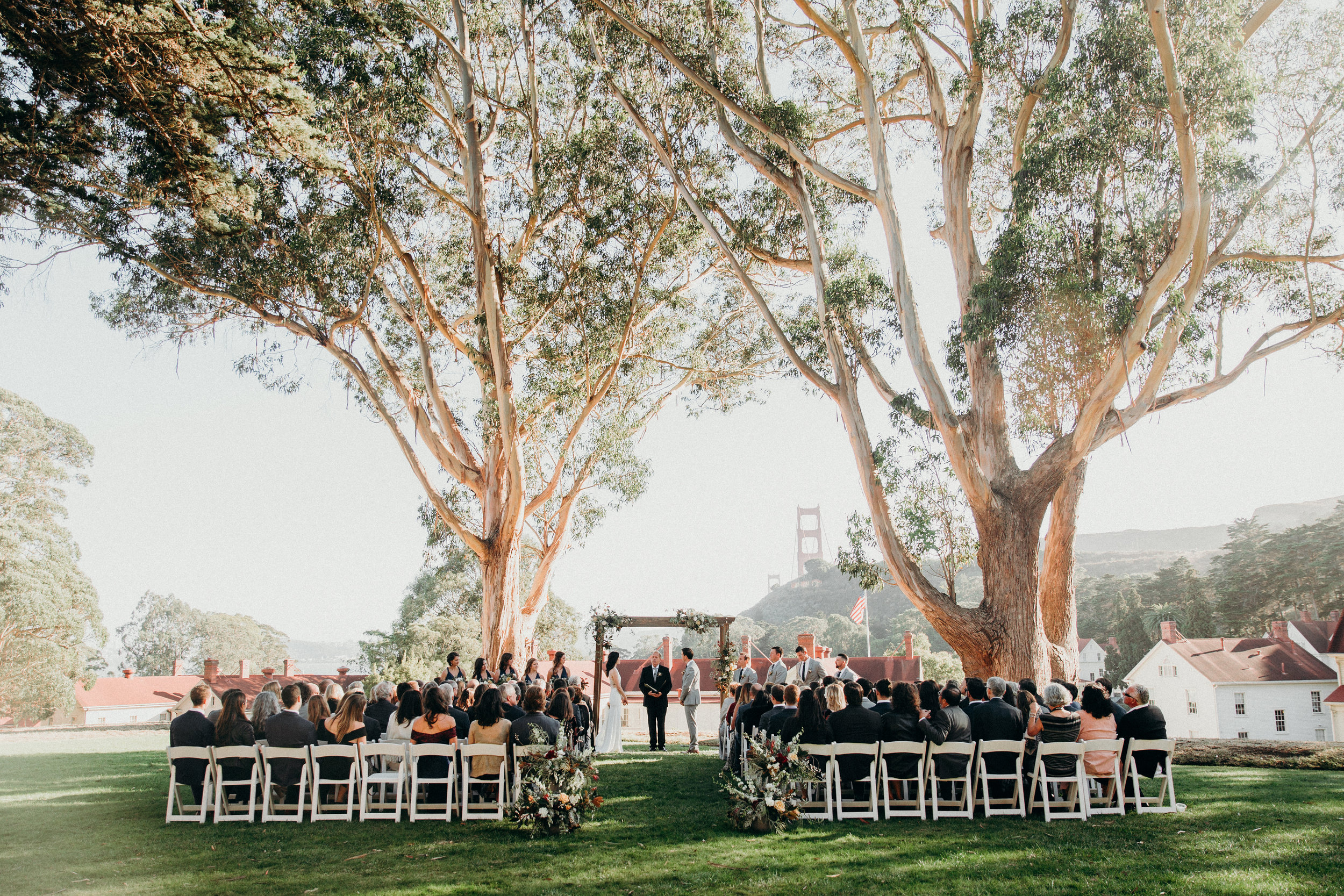Stunning view at Cavallo Point wedding ceremony with Venn Floral and Lally Events photographed by Ryan Chard Smith.