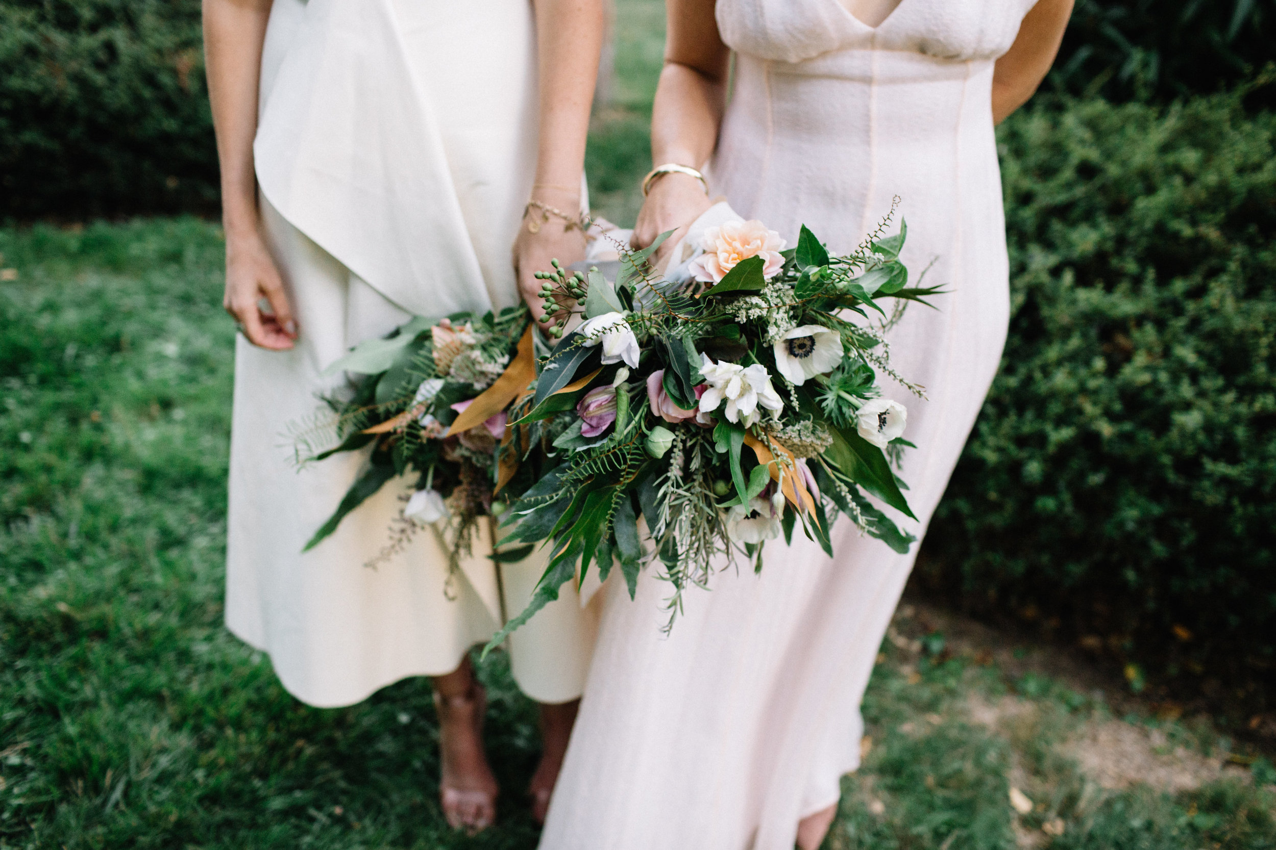 Textural greenery bouquets with Ferns, Anemones, Clematis, Yarrow, and Garden Roses by Venn Floral photographed by Lucille Lawrence in Anderson Valley, California.