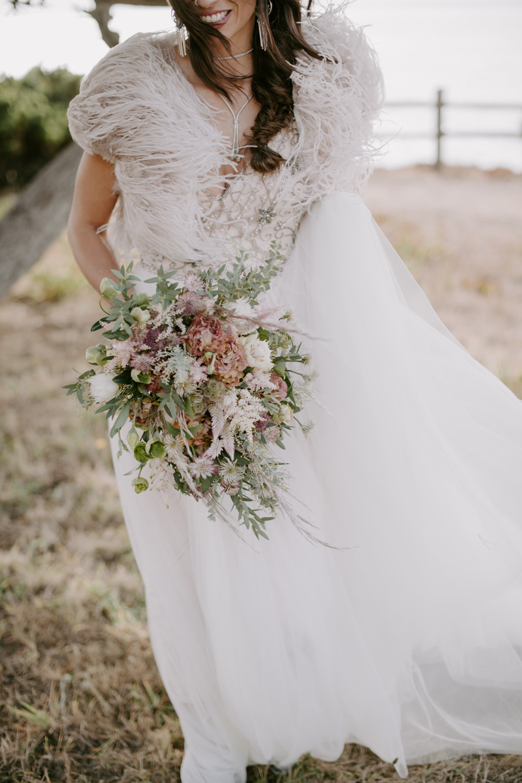 Modern romantic flowers by Venn Floral for the stylish bride photographed by Kristen Marie Parker at Heritage House Resort in Mendocino, California.