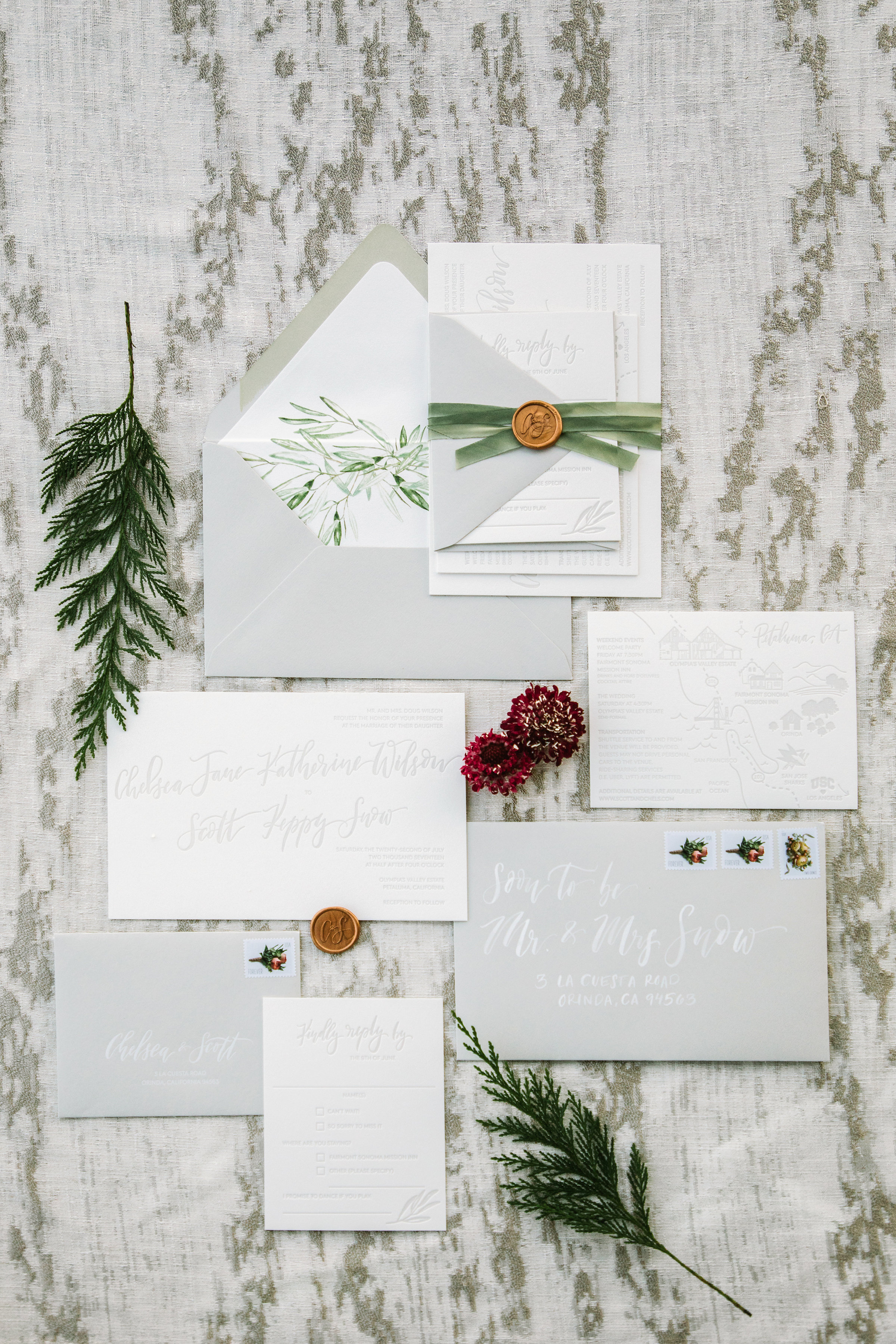 Botanical invitation suite with flowers by Venn Floral at Olympia's Valley Estate photographed by The Edges.