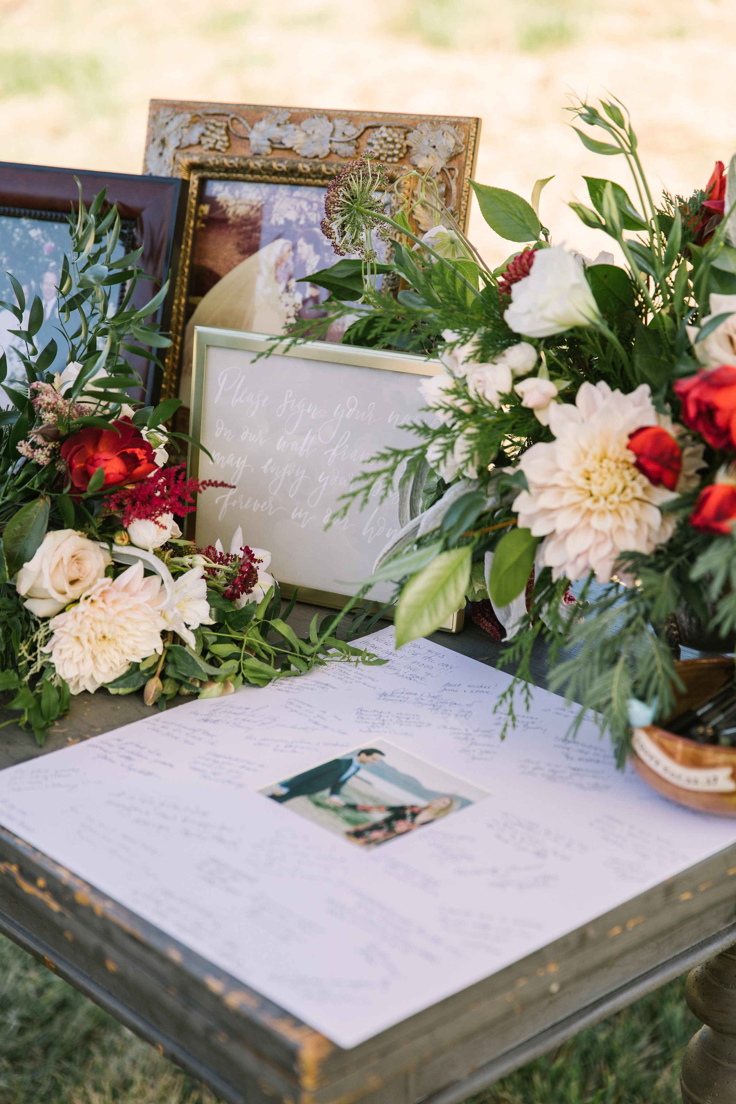 Romantic guestbook flowers by Venn Floral at Olympia's Valley Estate photographed by The Edges.