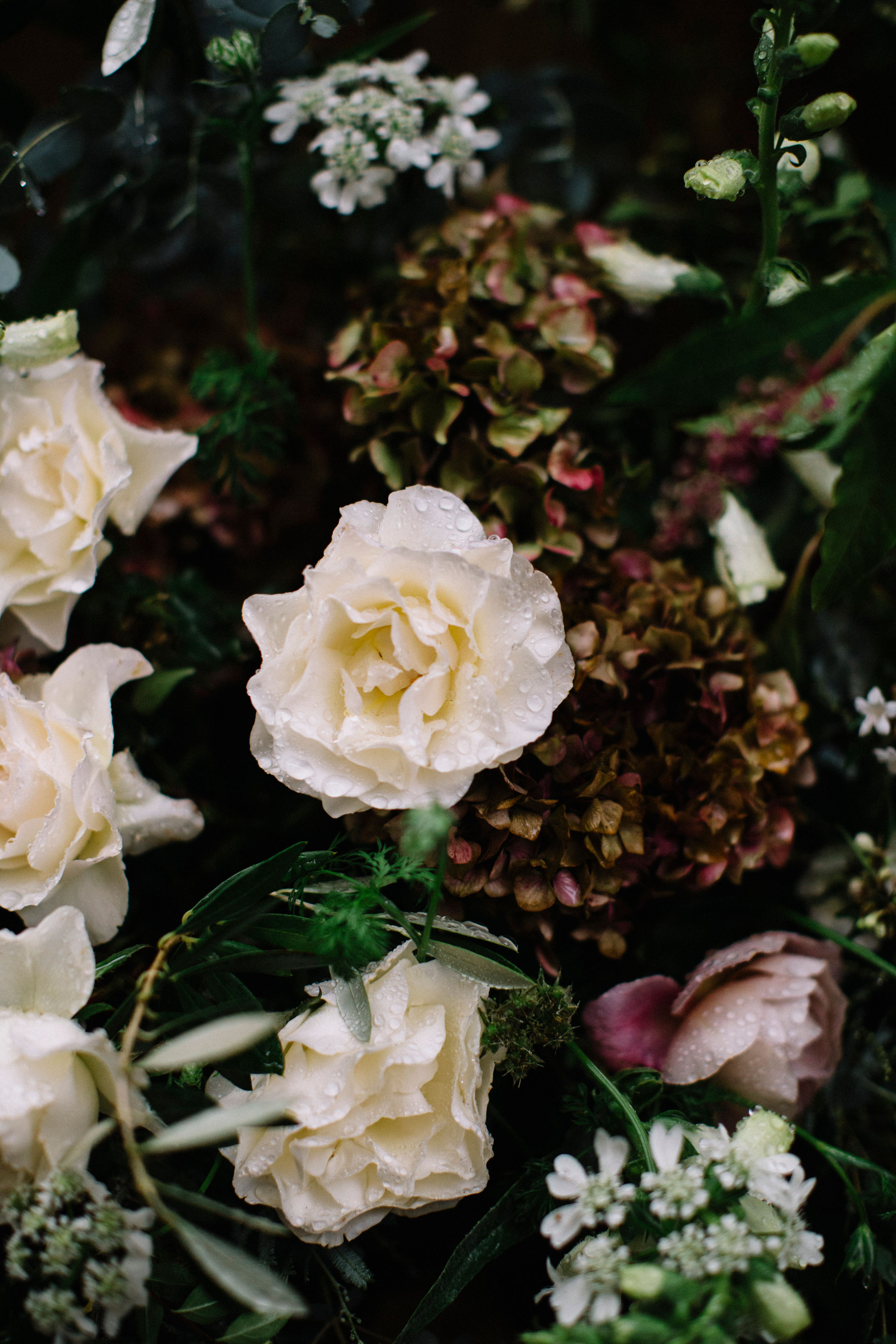 Moody wedding flower inspiration in Healdsburg by Venn Floral photographed by Lucille Lawrence at Ru's Farm with Cristina Heald.