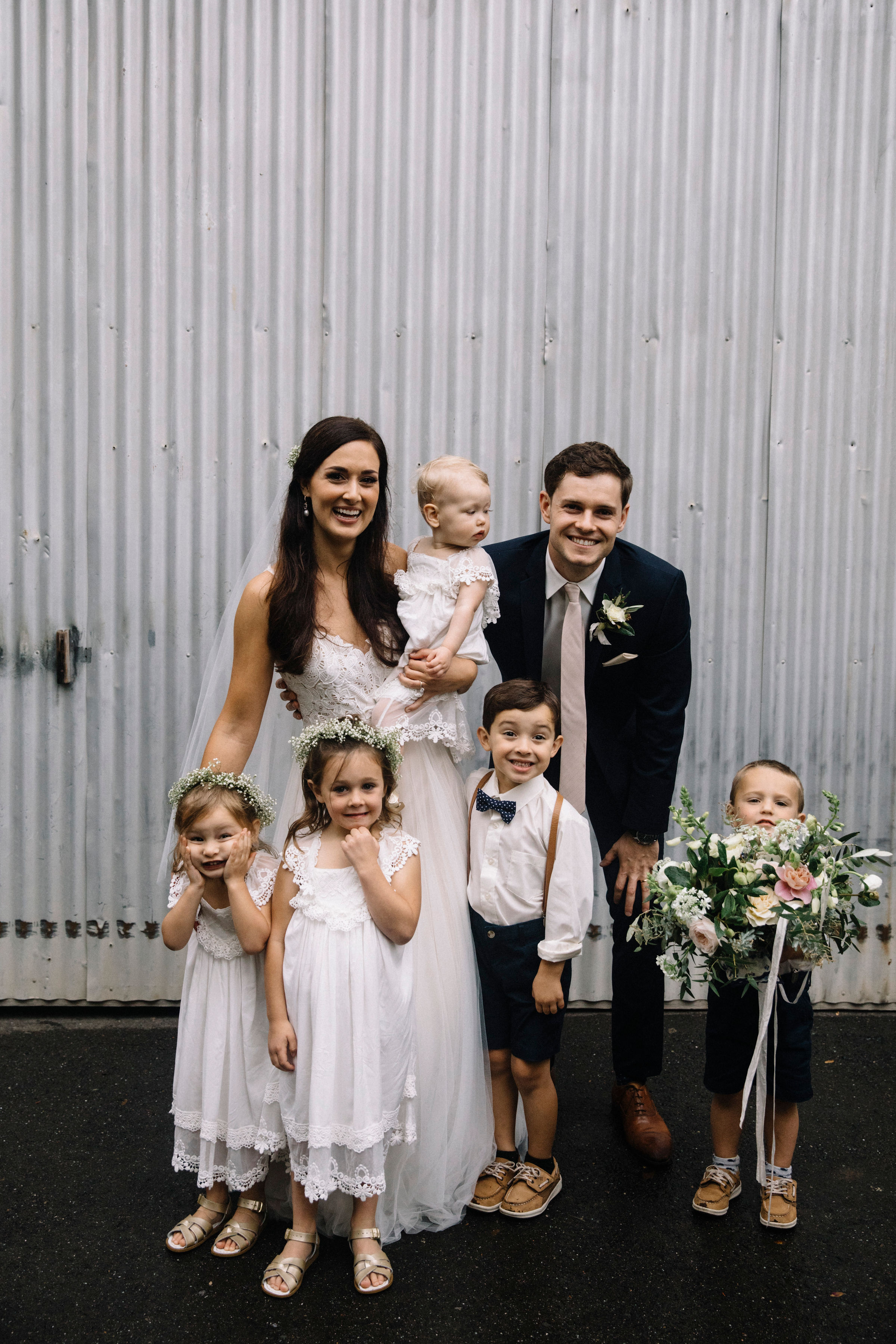 Romantic wedding flowers for the whole family by Venn Floral at Ru's Farm photographed by Lucille Lawrence in Healdsburg, California.