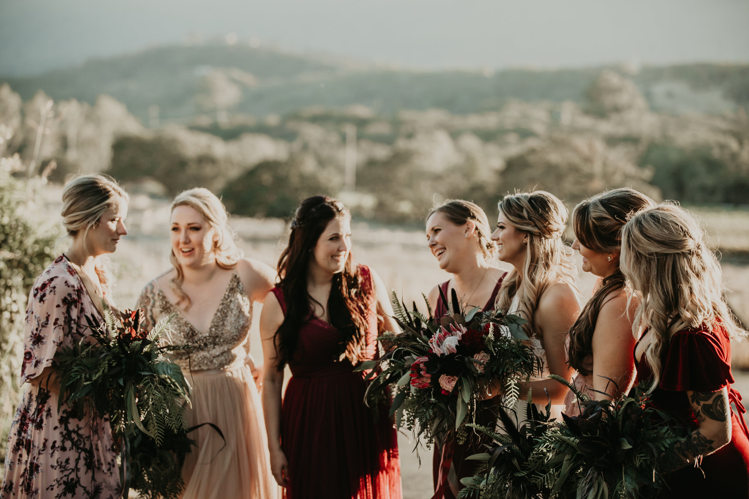 Textural greenery bridal bouquets by Venn Floral at Beltane Ranch. Photographed by Vera Frances.
