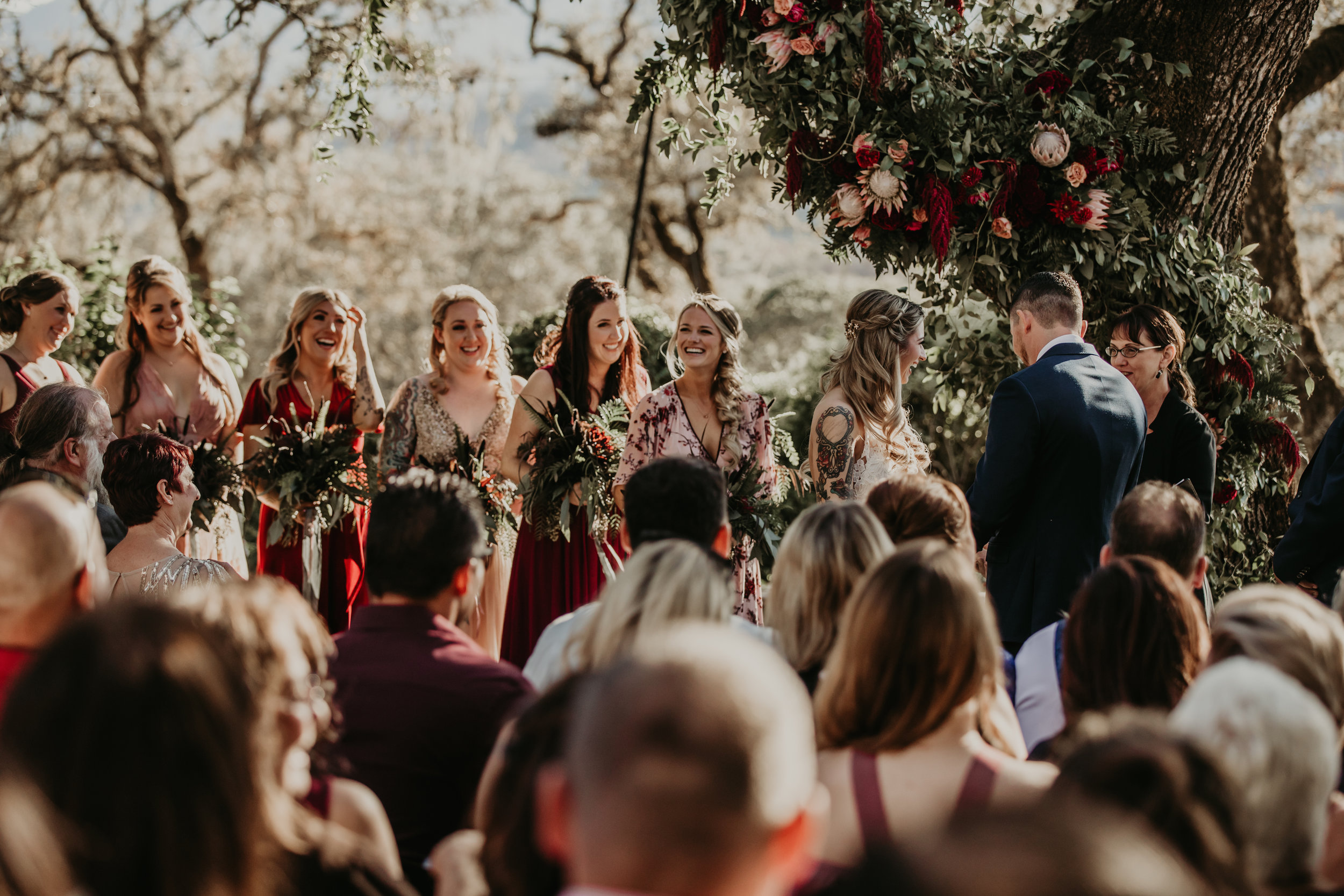 Nontraditional bridal bouquets and ceremony flowers. Venn Floral with Vera Frances Photography at Beltane Ranch in Glen Ellen, California.