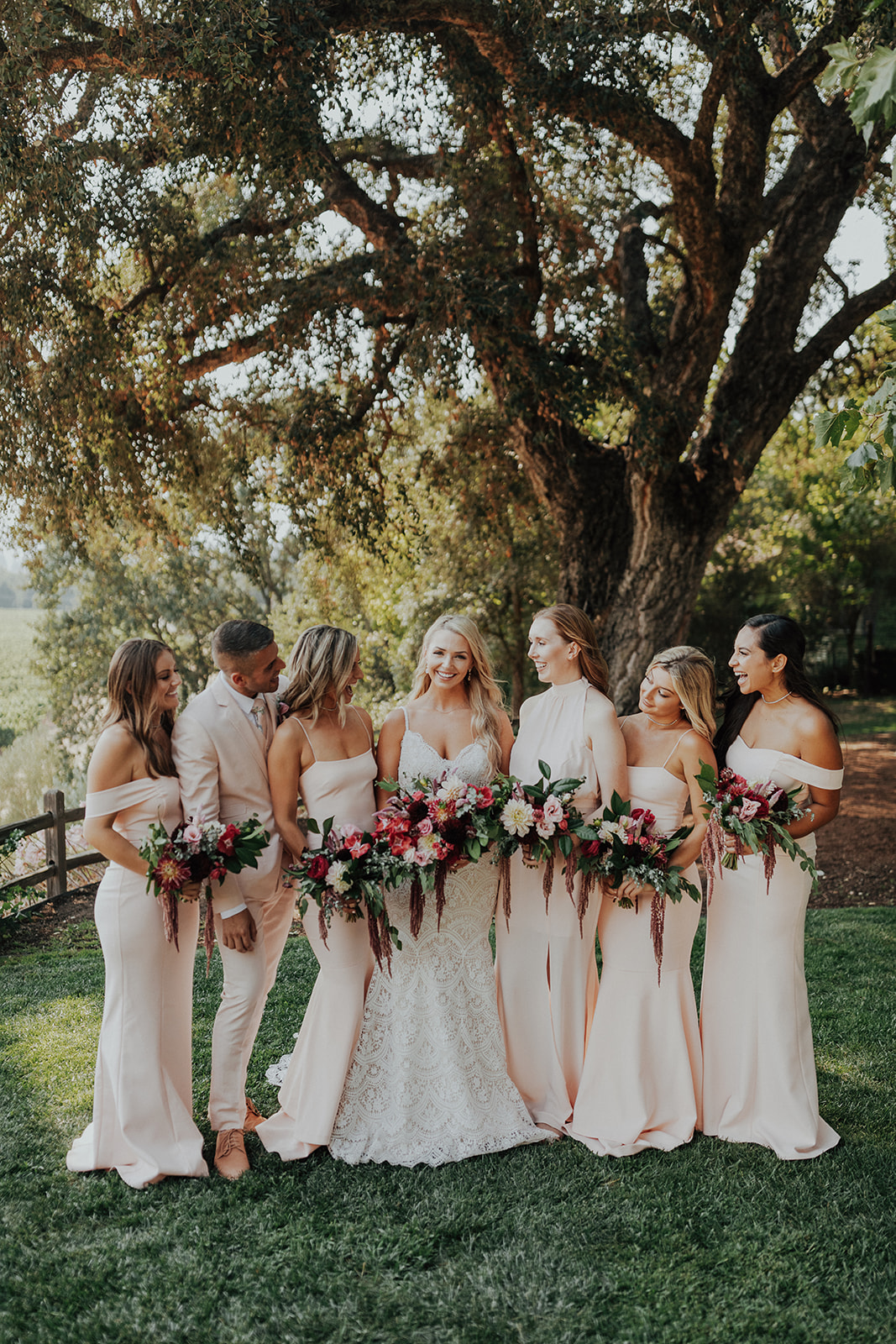 Bright and natural wedding party flowers by Venn Floral in Healdsburg at Ru's Farm photographed by Logan Cole.