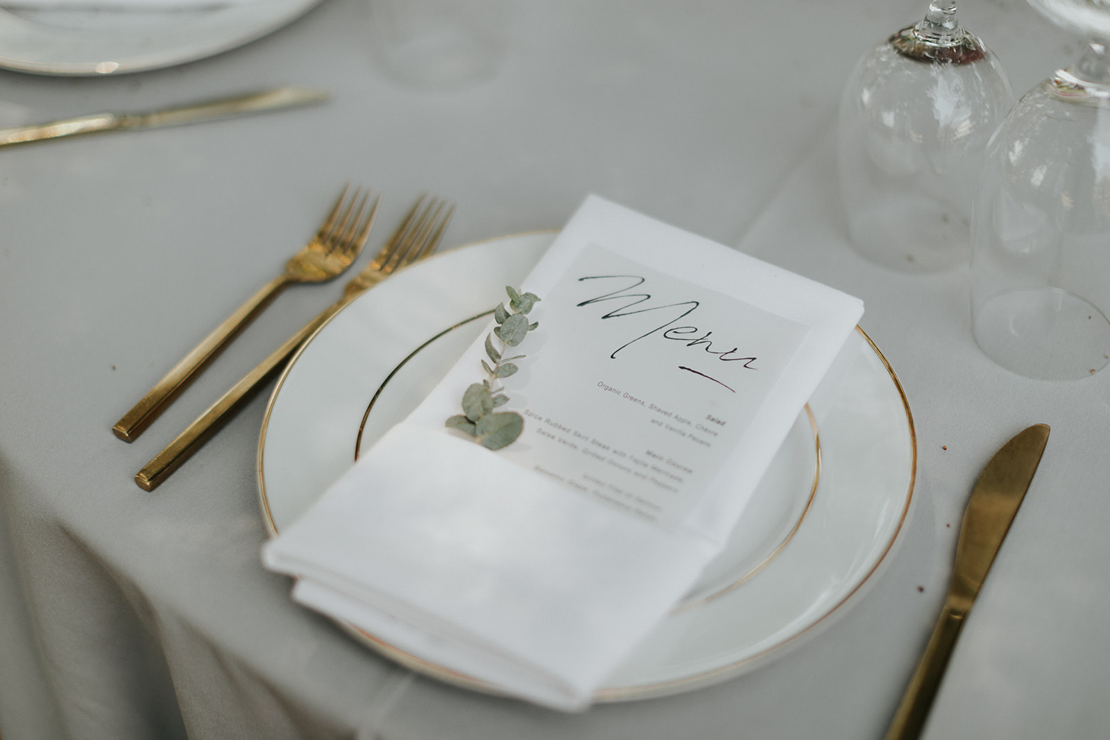 Greenery stems for place setting by Venn Floral in Healdsburg at Ru's Farm photographed by Logan Cole.