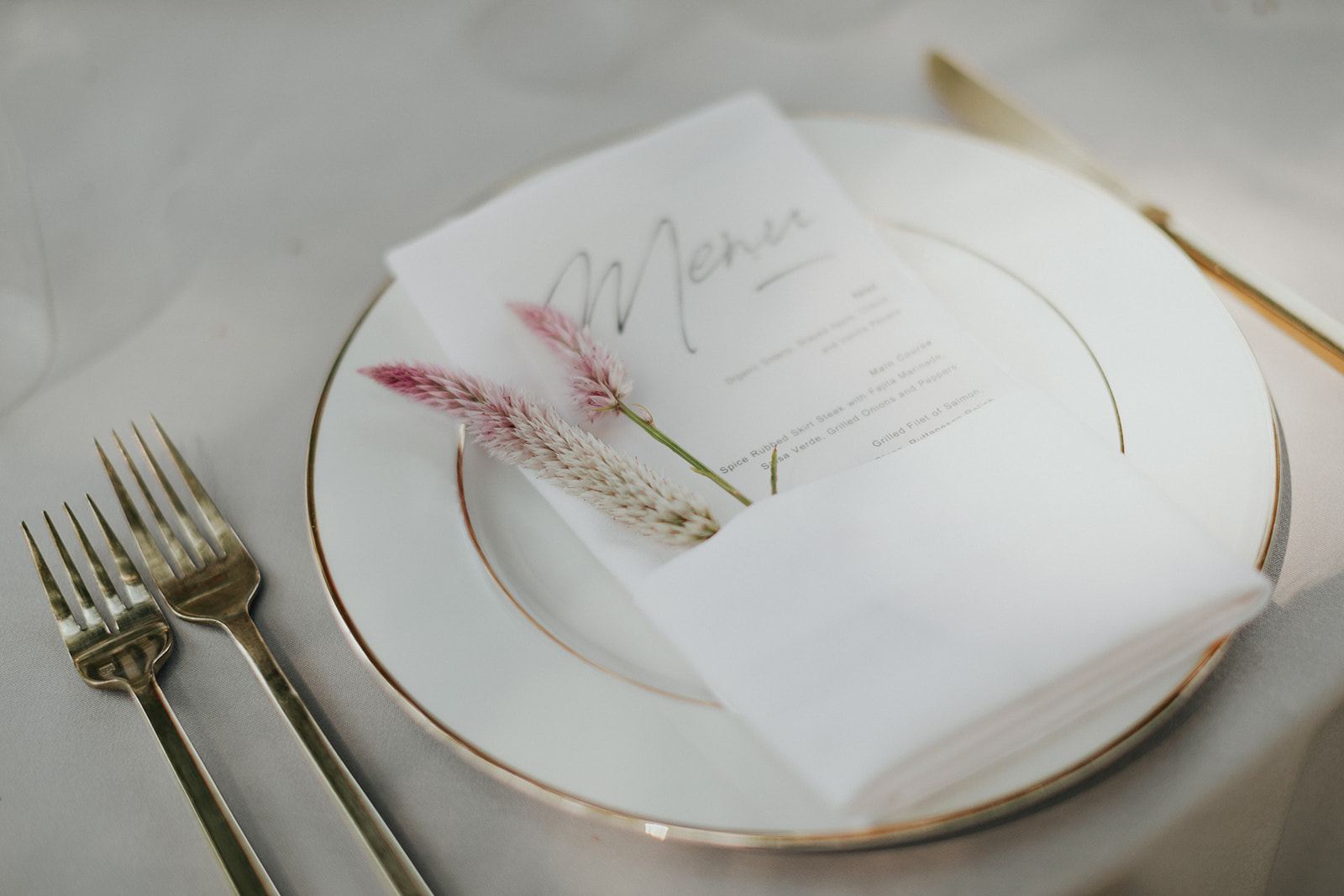 Flower stems for place setting by Venn Floral in Healdsburg at Ru's Farm photographed by Logan Cole.