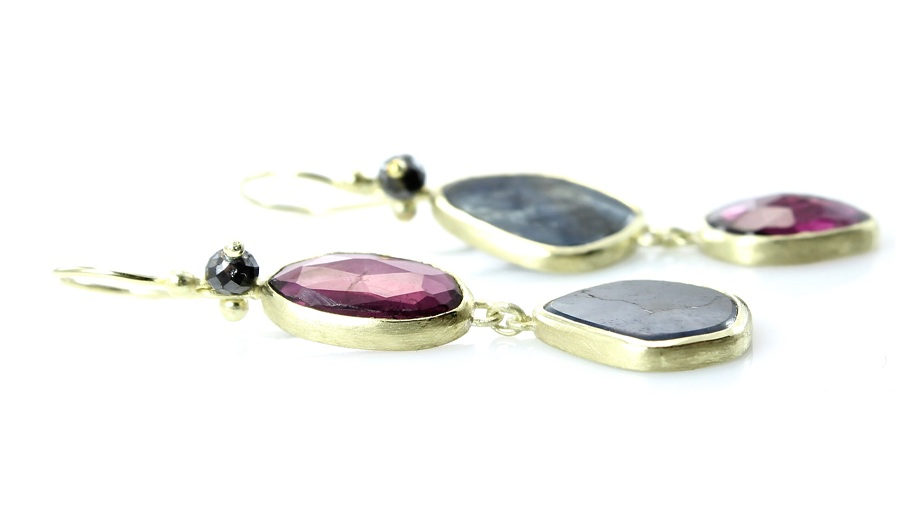 Garnet and sapphire mis-matched double dangles with black diamonds and 18k gold
