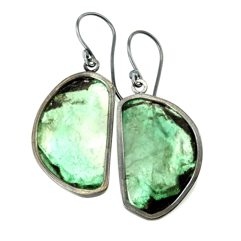 Emerald slice dangles with oxidized sterling silver