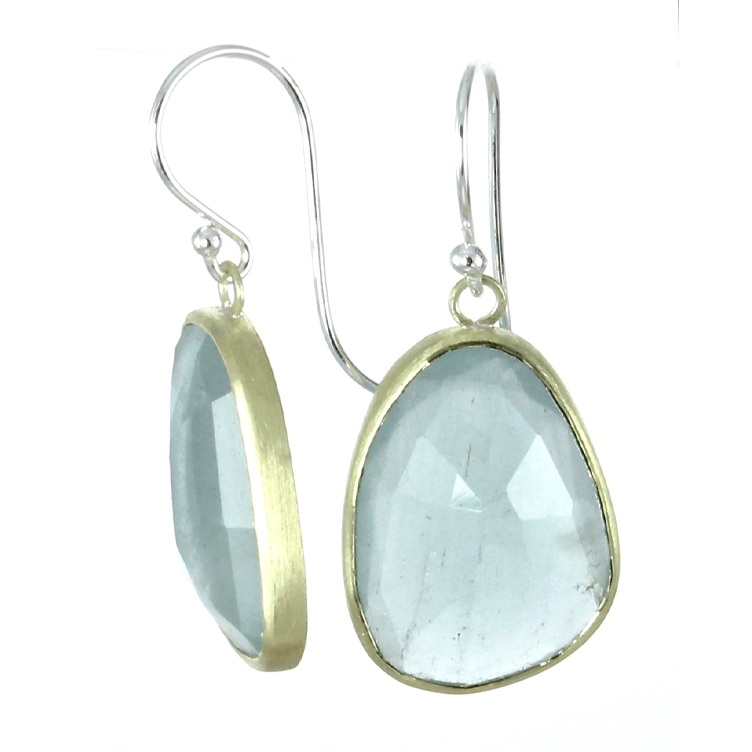 Aquamarine simple dangles with 18k gold and sterling silver