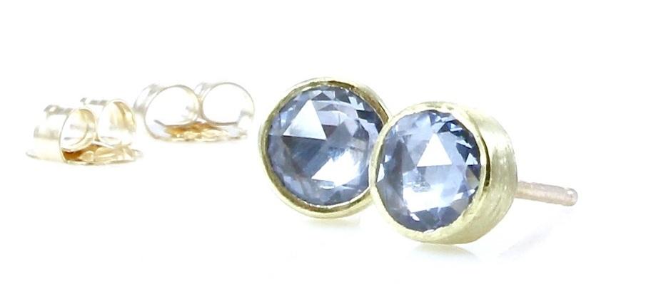 Light blue sapphire studs with 18k gold