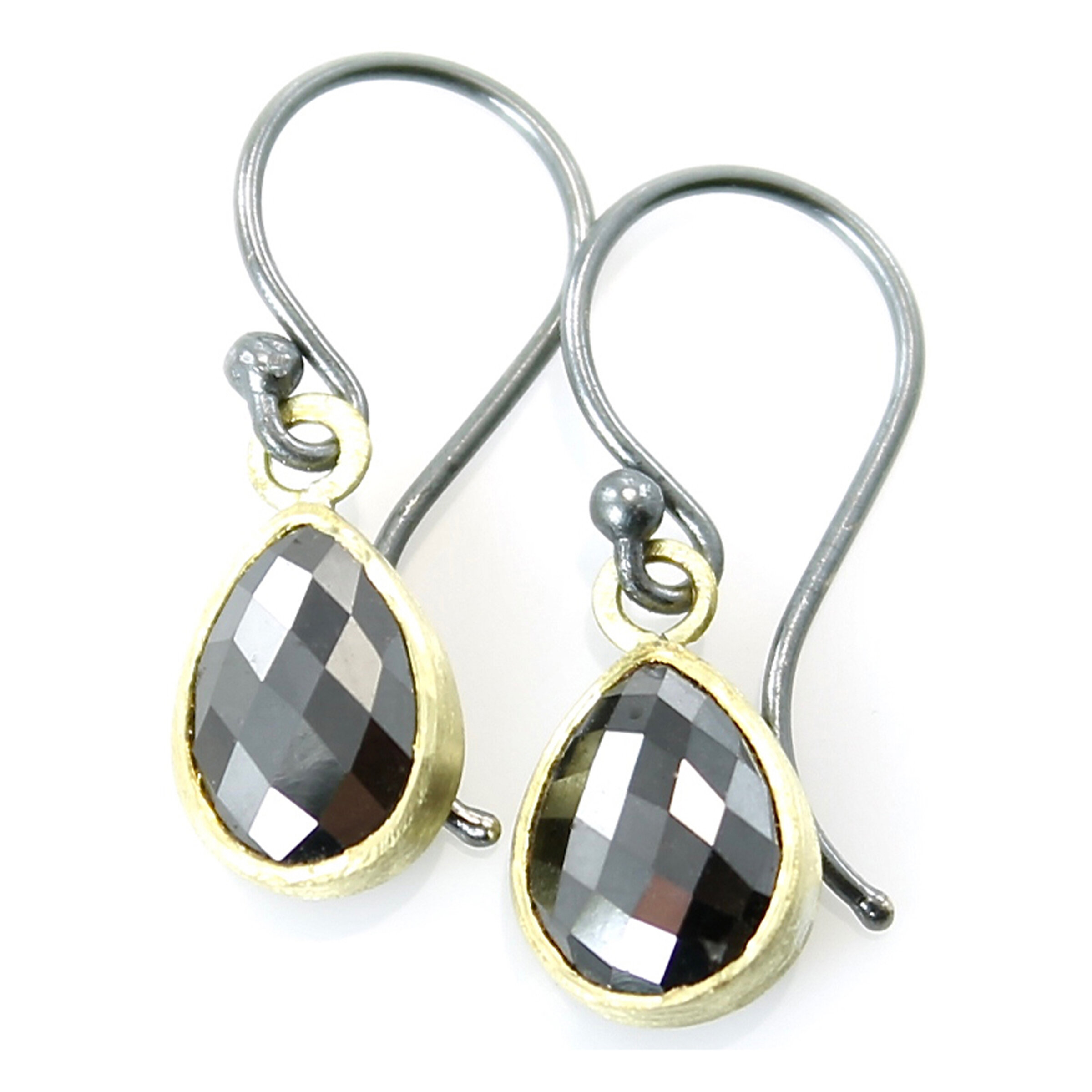 Black diamond simple dangles with 18k gold and sterling silver