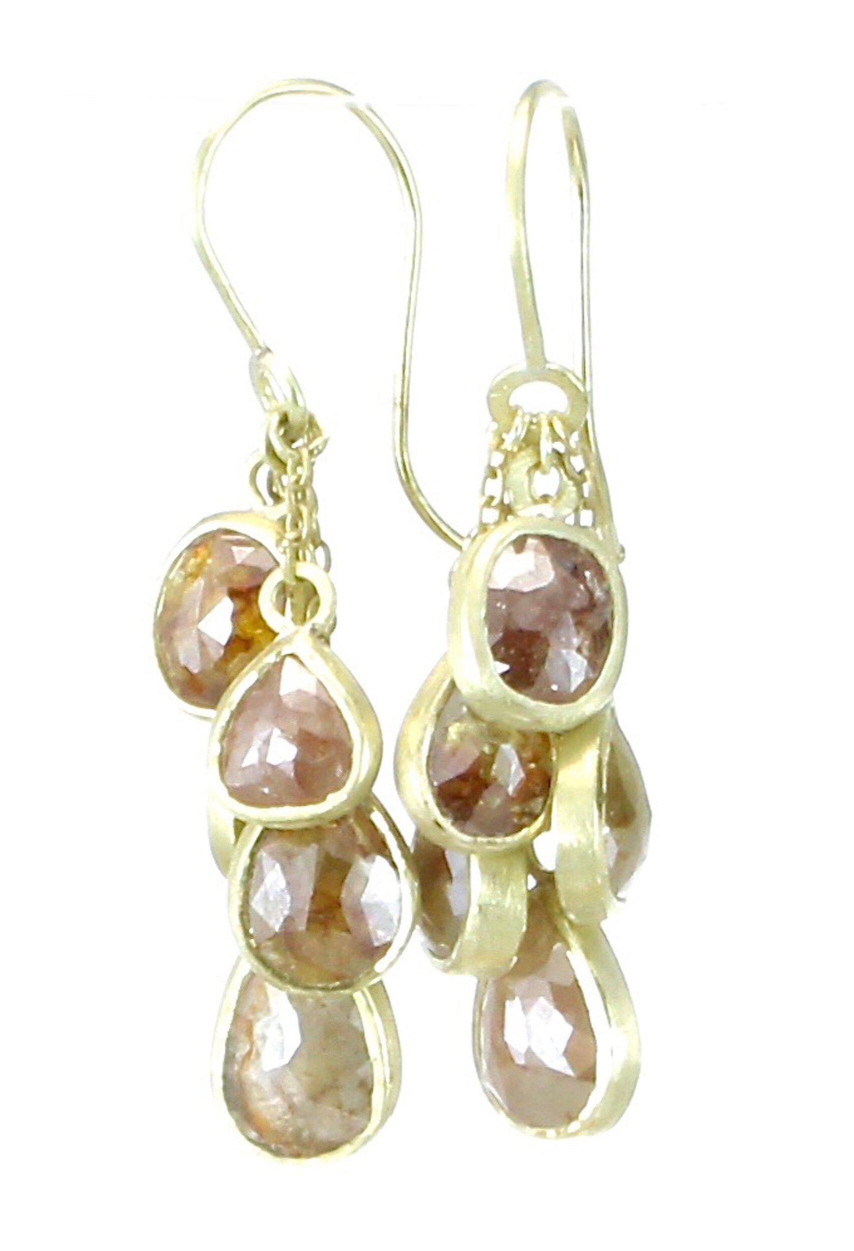 10 diamond dangle earrings with 18k gold
