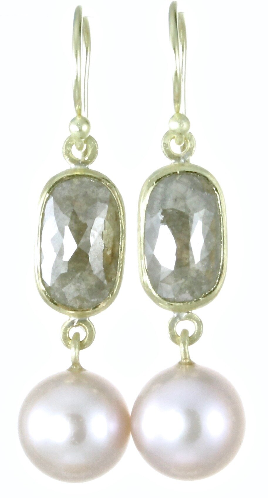 Gray diamond and pink Tahitian pearl double dangles with 18k gold
