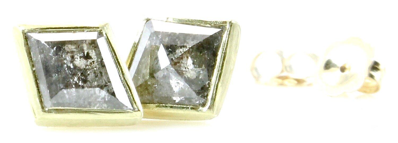 Salt & pepper kite diamond stud earrings with 18k gold