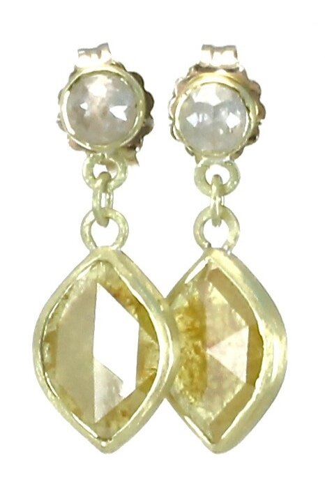 Yellow and gray diamond double dangle earrings with 18k gold