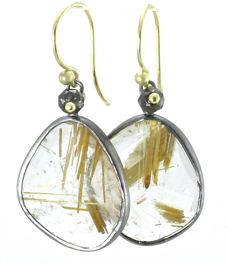 Rutilated quartz simple dangles with black diamonds, 18k gold and oxidized sterling silver