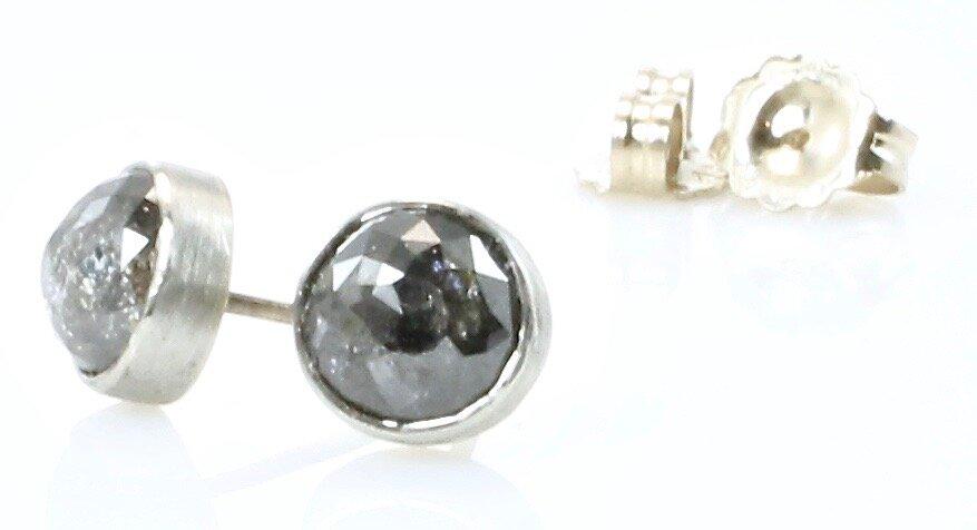 Salt & pepper diamond studs in 18k white gold